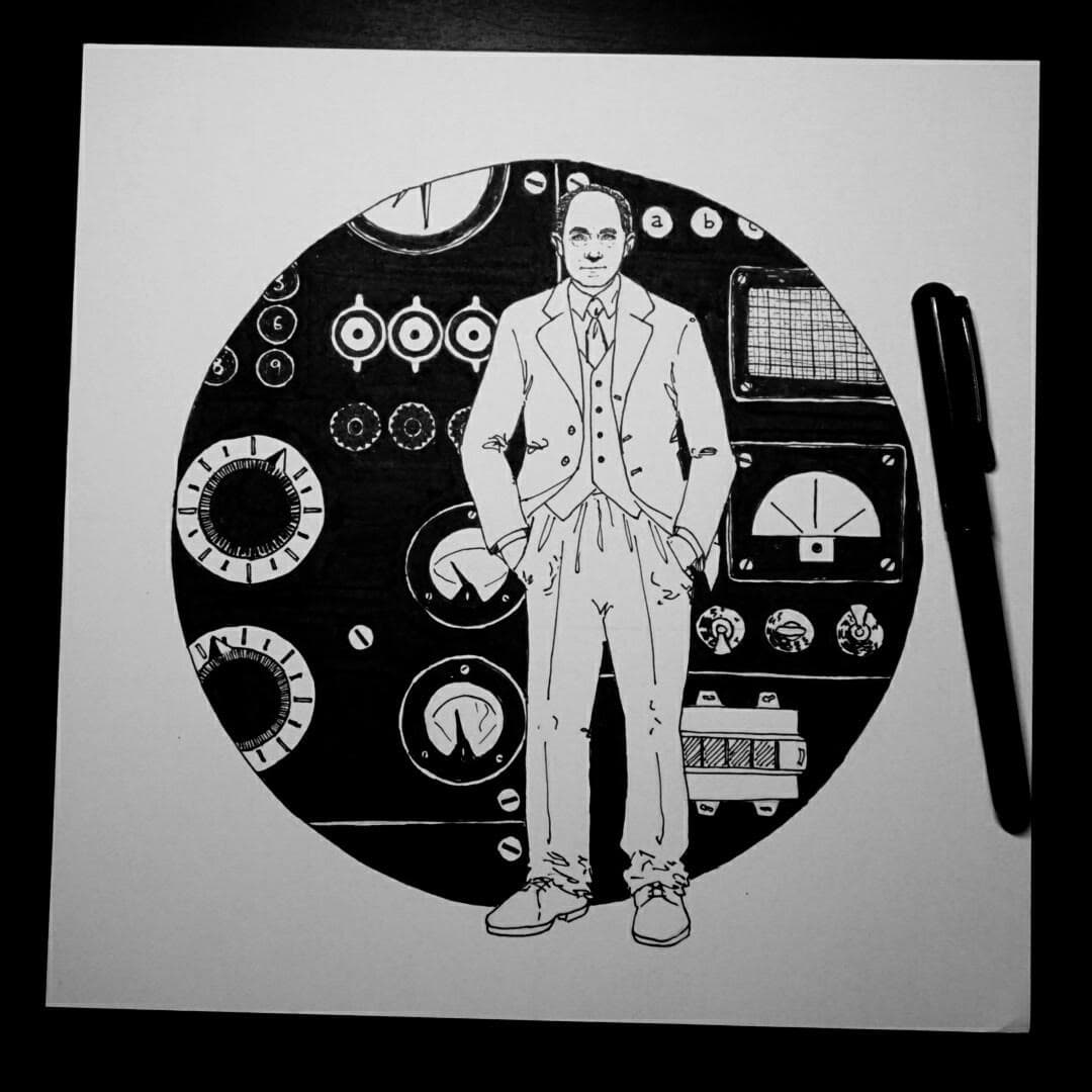 Ink Illustration of Enrico Fermi standing in front of a control panel