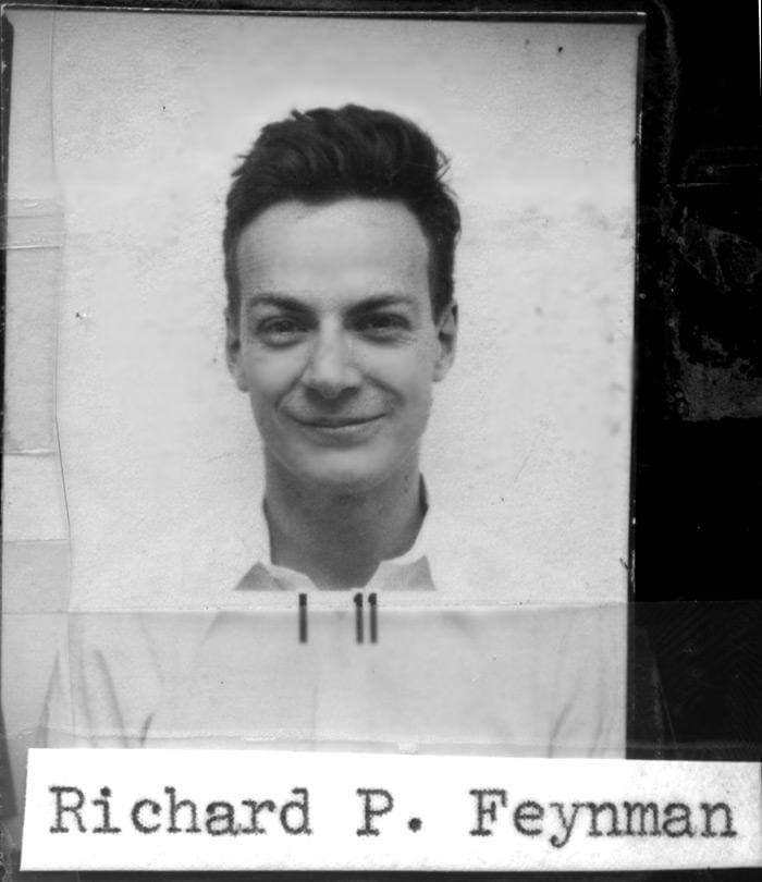 A picture of young Richard Feynman from the ID Badge used at Los Alamos