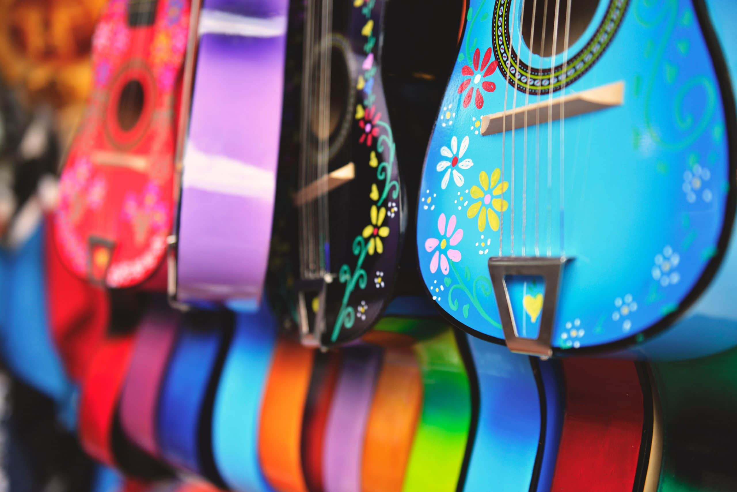 Colorful picture of decorated guitars